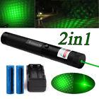 2In1 Green Laser Pen Light  Beam 20Mile Star Cap Lazer 532nm+Battery+Charger