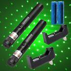 2PC 20Mile 2In1 4mw 532nm Green Laser Light  Pointer Star Pattern+Batt&Charger