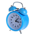 Vintage LED Double Metal Bell Alarm Clock Loud Bed Night Light Clock Blue