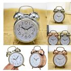 Classic Silent Double Bell Alarm Clock Quartz Movement Bedside Non Snooze
