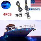 4PCS Blue LED Boat Light Waterproof Outrigger Spreader Transom Underwater US