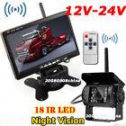 "12V-24V 7"" Wireless LCD Rear View Monitor System+Bus Truck Trailer Backup Camera"