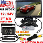 "7"" TFT LCD Screen RV Truck Trailer Monitor + Backup Camera with 10M Video Cable"