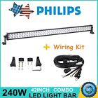 PHILIPS 42INCH 240W LED LIGHT BAR COMBO SUV JEEP RZR 4X4 FORD 12V 24V WIRING KIT