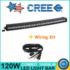 """25"""" 120W Curved Cree Single Row LED Light Bar Offroad Jeep SUV Truck+ Wiring Kit"""