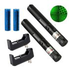 2PCS Green Laser Pointer Pen 532nm Asronomy Lazer+Star Cap+18650Battery+Charger