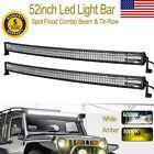 2pcs 3654W 52inch Curved Tri-Row LED Work Light Bar Spot Flood Offroad UTV 4X4WD