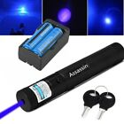 Blue Purple Laser Pointer Pen 20Miles Visible Beam Bright+2xBattery+Dual Charger