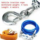 4m Heavy Duty Car Steel Tow Rope With Hooks 5 Tons Recover Emergency Cable Van