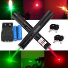 2PCS 50Miles Red+Green Laser Pointer Pen 532/650nm Visible Beam+Battery+Charger