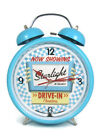 "Ravinia Twin Bell Neon Alarm Clock Blue Retro 8"" Diameter Battery Operated NEW"