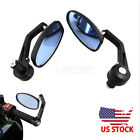 Universal Motorcycle 7/8'' 22mm Handle Bar End Rearview Side Mirrors Aluminum US