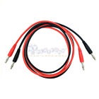Dual Ended Banana Plug Test Probe Silicone Lead Cable Black Red US Supplier