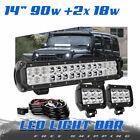 "14"" 90W Straight LED Light Bar Day Light Spot Flood Beam FOR Jeep Ford ATV DTB"
