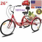 "26""Adult 3-Wheel Tricycle Trike Cruise Bike Bicycle W/Basket Red USA Seller"