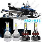 Snowmobile LED Total 200W 7600LM 6000K Headlight White High Combo Kit - 862 H11