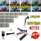 Nice 12xWaterproof 15colors Car Motorcycle LED Under Glow Light Neon Strip+RC