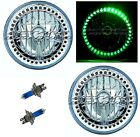 "7"" Halogen Green LED Halo Ring Angel Eye Headlight Headlamp Light Bulbs Pair Img"