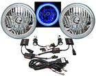 "7"" SMD Blue LED Halo Angel Eye Headlamp Headlight HID 6000K 6K Bulbs Pair (Img)"