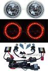"5-3/4"" Red LED Halo Angel Eyes Headlight H4 Headlamp 6000K HID Light Bulbs Pair"