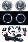 5-3/4 White LED Halo Angel Eyes Headlight H4 Headlamp 6000K HID Light Bulbs Pair