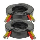 AceLevel Premium 100ft BNC Extension Cables for Zmodo Systems - 2 Pack (Black)