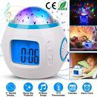 Kids Music LED Star Sky Projection Lamp Digital Alarm Clock Calendar Thermometer
