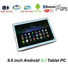 9.6 inch Tablet PC 16GB Android 5.1 3G phone Call 1Quad-core Pad Black