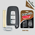 New Uncut Remote Key Shell Case Fob 3 Button for Hyundai Equus Genesis Veloster