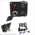 Dual USB Ports +Voltmeter+Power Socket+ ON-OFF Button 4 Hole Panel for Car Boat