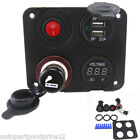 4 Hole Panel+Dual USB Charger+Voltmeter+Power Socket+ ON-OFF Button for Car Boat