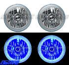 "7"" Blue COB LED Halo Angel Eye H4 Headlamp Headlight Halogen Light Bulb Pair"
