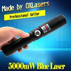 High Power 450nm Blue Laser Pointer Pen Military Light Beam Burn Match 5kmW