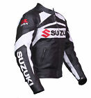 Black Suzuki  Motorcycle Leather Jacket Sports Motorbike Leather Racing Jacket
