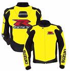 Suzuki Yellow Motorcycle Leather Jacket Sports Motorbike Leather Rider Jacket