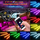 RGB Car Interior Floor Atmosphere Light Strip Remote Music Control 4x9 LED Lamps