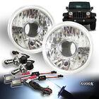 """FOR EURO CAR! 7"""" H6014 H6017 H6024 CLEAR PRO HEADLIGHTS BI-XENON AC HID 8000K"""
