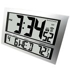 Large Digital Wall Mount Clock Time Date Temperature Big Digits Easy To See New