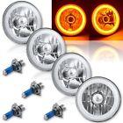 "5-3/4"" Amber LED COB SMD Halo Angel Eye Halogen Light Bulbs Metal Headlights Set"