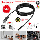 5M Car Endoscope 7mm Endoscope HD USB Android 6 LED Inspection Borescope Camera