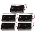 10X Black Plastic Battery Storage Box Case Holder With Wire Lead For AA Battery