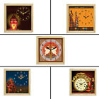 Beautiful Canvas Painting Designer Square shape Wall Clock Glass & Wood Frame