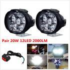 2Pcs 20W 12LED 2000LM Motorcycle Headlight Driving Fog Spot Head Light Spotlight
