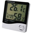 LCD Digital Hygrometer Humidity Temperature Thermometer Meter Clock Gauge Alarm