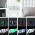 Digital Large 3D LED Table Wall Clock Decor Alarm Snooze 24/12H Display USB D