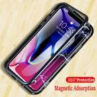 2 in 1 Magnetic Adsorption Phone Case iPhone X 7 8 Plus Clear Tempered Luxury