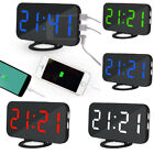 LED Digital Display Alarm Clock With USB Port For Phone Charger Touch-Activited