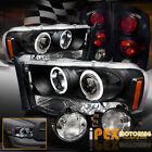 02-05 Dodge Ram Halo Projector LED Headlight + Gloss Black Tail Light + Fog Lamp