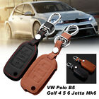 NEW PU Leather 3 Button Key Cover Case Shell For VW Polo B5 Golf 4 5 6 Jetta Mk6