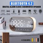 MECO LED Wireless Bluetooth Speaker Digital Alarm Clock TF Mirror AUX MP3 Music